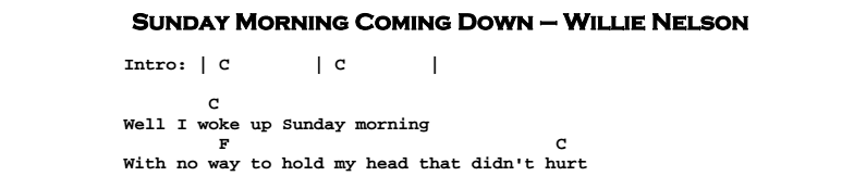 Willie Nelson - Sunday Morning Coming Down Chords & Songsheet