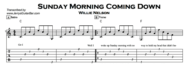Willie Nelson - Sunday Morning Coming Down Tab