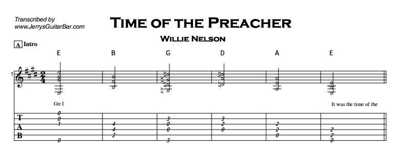 Willie Nelson - Time of the Preacher Tab