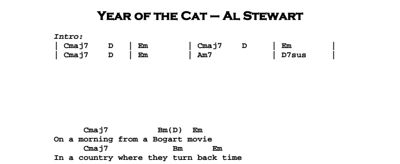 Al Stewart – Year of the Cat Chords & Songsheet