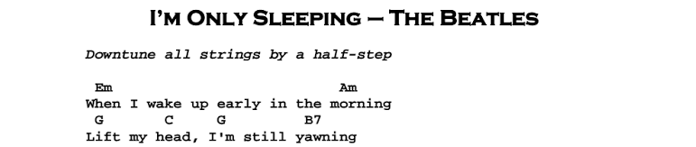The Beatles – I'm Only Sleeping Songsheet & Chords