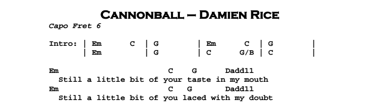 Damien Rice - Cannonball Chords & Songsheet