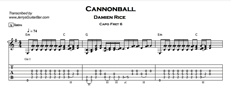 Damien Rice - Cannonball Tab