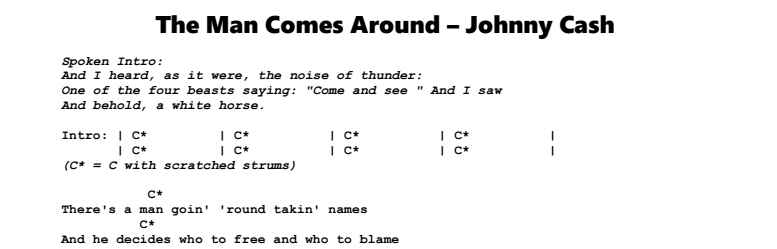 Johnny Cash – The Man Comes Around Chords & Songsheet