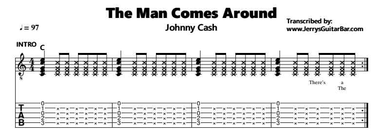 Johnny Cash – The Man Comes Around Tab