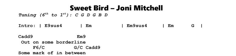 Joni Mitchell – Sweet Bird Chords & Songsheet