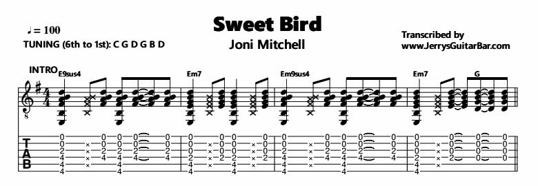 Joni Mitchell – Sweet Bird Tab