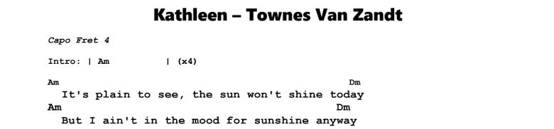 Townes Van Zandt - Kathleen Chords & Songsheet