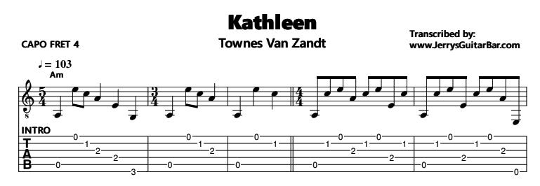 Townes Van Zandt - Kathleen Tab