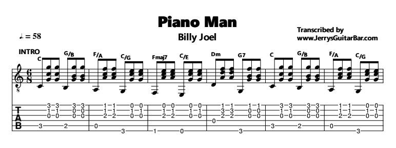 Piano piano tabs piano man : Billy Joel – Piano Man. Guitar lessons. Jerry's Guitar Bar