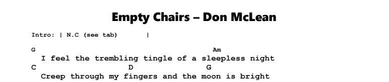 Don McLean – Empty Chairs Chords & Songsheet