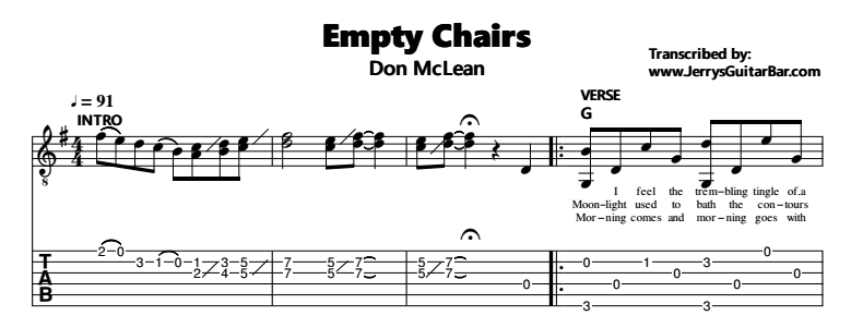 Don McLean – Empty Chairs Tab