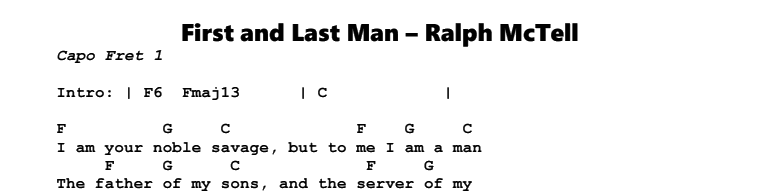 Ralph McTell – First and Last Man Tab