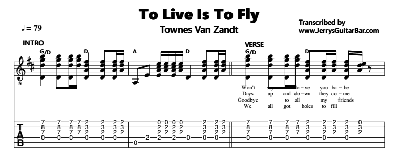 Townes Van Zandt – To Live Is To Fly Tab