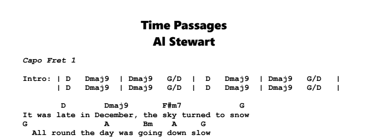 Al Stewart – Time Passages Chords & Songsheet
