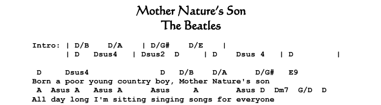 The Beatles – Mother Nature's Son Songsheet & Chords