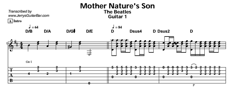 The Beatles – Mother Nature's Son Tab