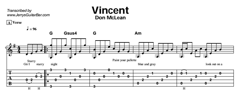 Don McLean - Vincent - Guitar Lessons by Jerry\'s Guitar Bar