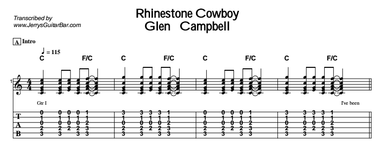 glen campbell rhinestone cowboy guitar lesson tab chords jgb. Black Bedroom Furniture Sets. Home Design Ideas