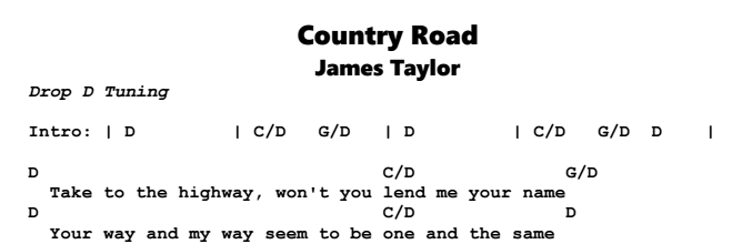 James Taylor – Country Road Chords & Songsheet
