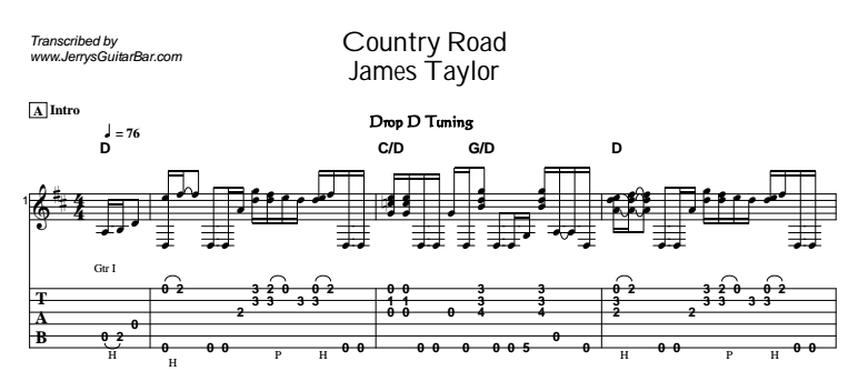 James Taylor – Country Road Tab
