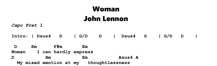 John Lennon - Woman Chords & Songsheet