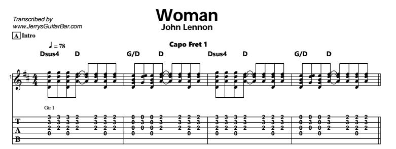 John Lennon - Woman Tab