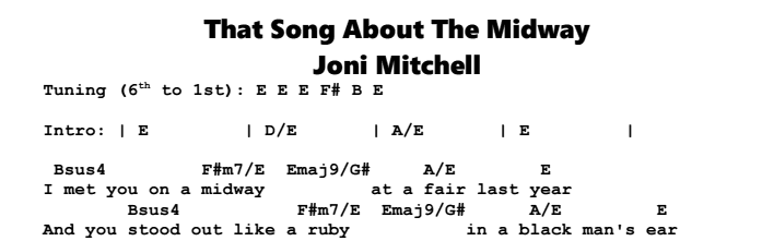 Joni Mitchell – That Song About The Midway Chords & Songsheet