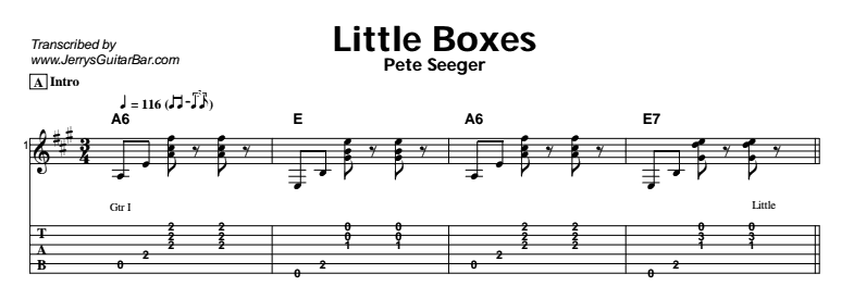 Pete Seeger – Little Boxes Tab