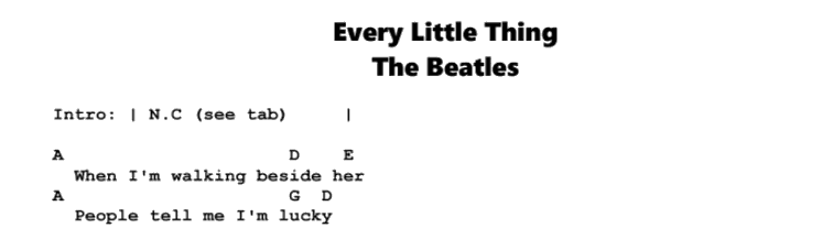 The Beatles – Every Little Thing Songsheet & Chords