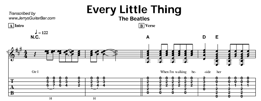 The Beatles – Every Little Thing Tab