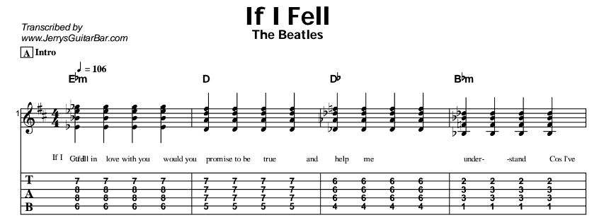 The Beatles – If I Fell Tab