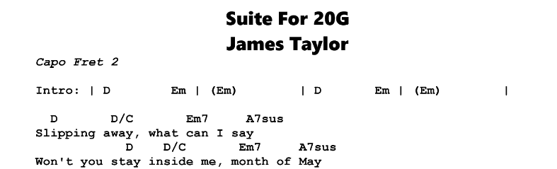 James Taylor – Suite For 20G Chords & Songsheet