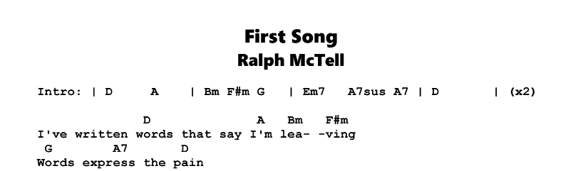 Ralph McTell – First Song Chords & Songsheet