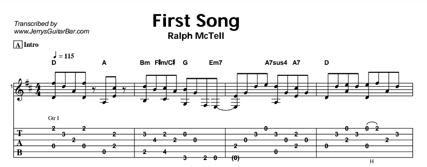 Ralph McTell – First Song Tab