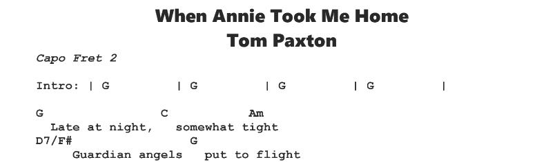 Tom Paxton – When Annie Took Me Home Chords & Songsheet