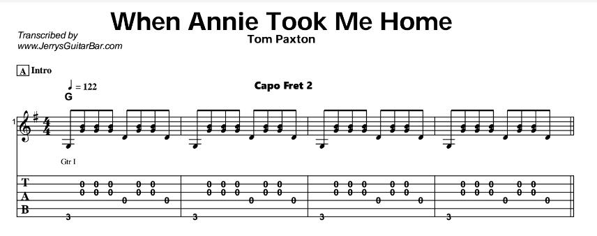 Tom Paxton – When Annie Took Me Home Tab
