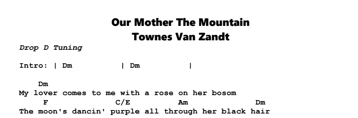 Townes Van Zandt – Our Mother The Mountain Chords & Songsheet