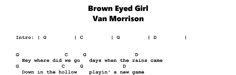 Van Morrison – Brown Eyed Girl Chords & Songsheet