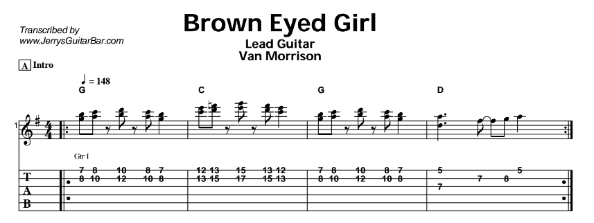 Van Morrison – Brown Eyed Girl Tab