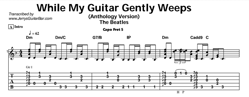 Beatles - While My Guitar Gently Weeps Tab