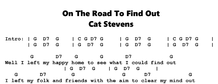 Cat Stevens – On The Road To Find Out Chords & Songsheet