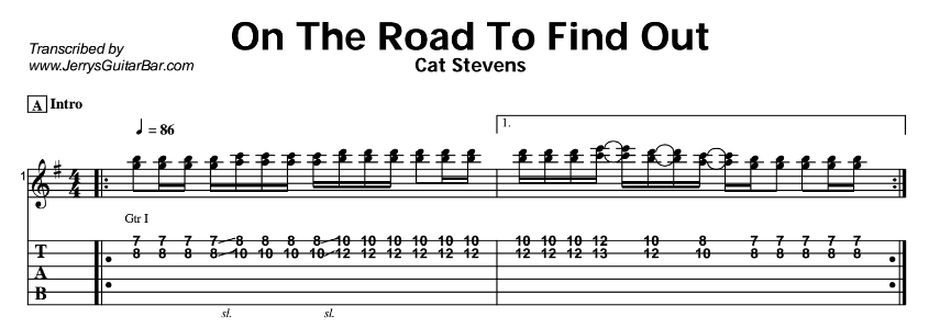 Cat Stevens – On The Road To Find Out Tab
