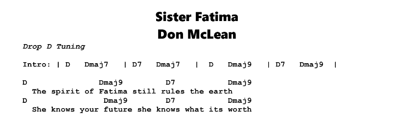 Don McLean – Sister Fatima Chords & Songsheet