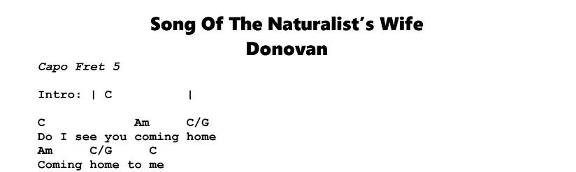 Donovan – Song of the Naturalist's Wife Chords & Songsheet