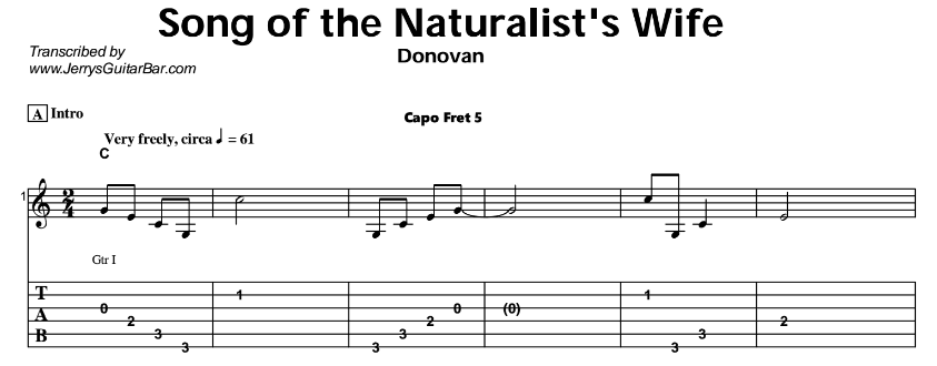 Donovan – Song of the Naturalist's Wife Tab