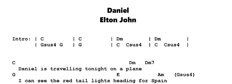 Elton John - Daniel Chords & Songsheet