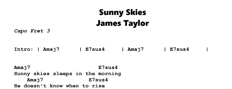 James Taylor – Sunny Skies Chords & Songsheet