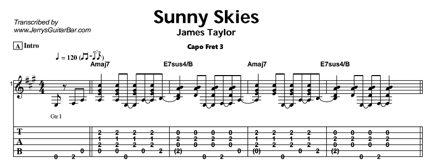 James Taylor – Sunny Skies Tab