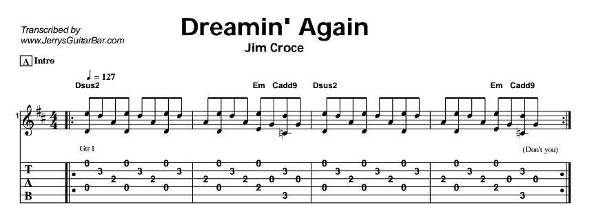 Jim Croce – Dreamin' Again Tab